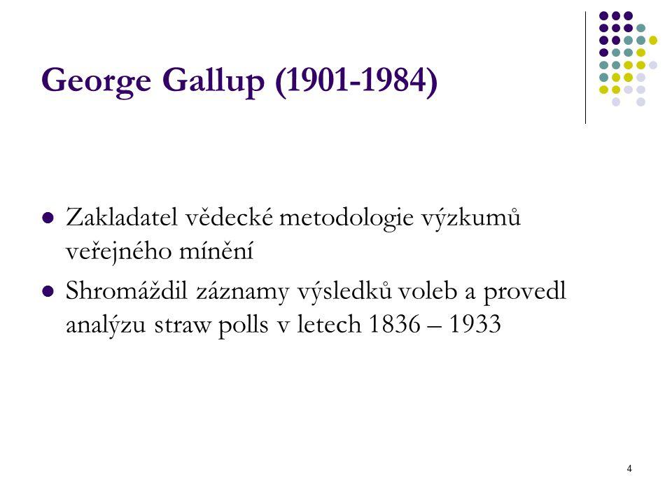 George Gallup (1901-1984) Zakladatel vědecké metodologie výzkumů veřejného mínění.
