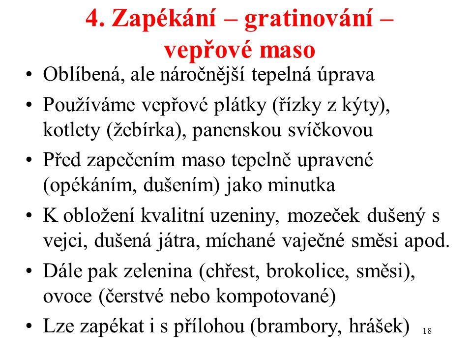 4. Zapékání – gratinování – vepřové maso