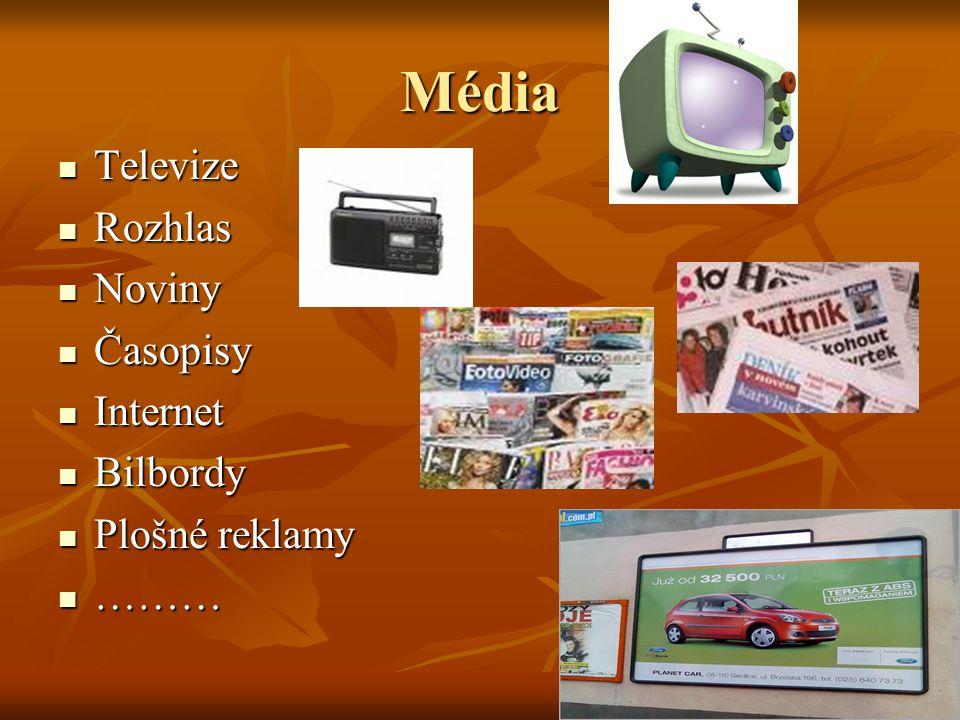 Média Televize Rozhlas Noviny Časopisy Internet Bilbordy