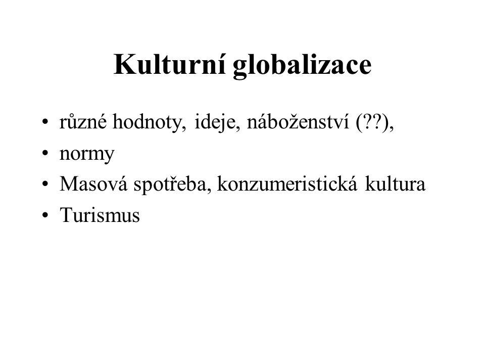 Kulturní globalizace různé hodnoty, ideje, náboženství ( ), normy
