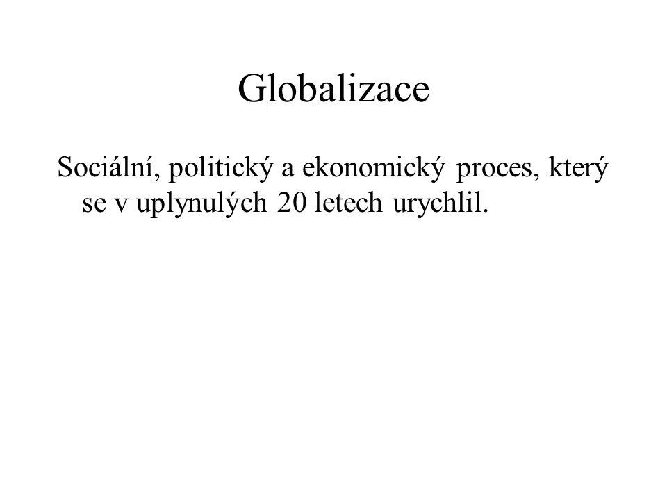 Globalizace Sociální, politický a ekonomický proces, který se v uplynulých 20 letech urychlil.
