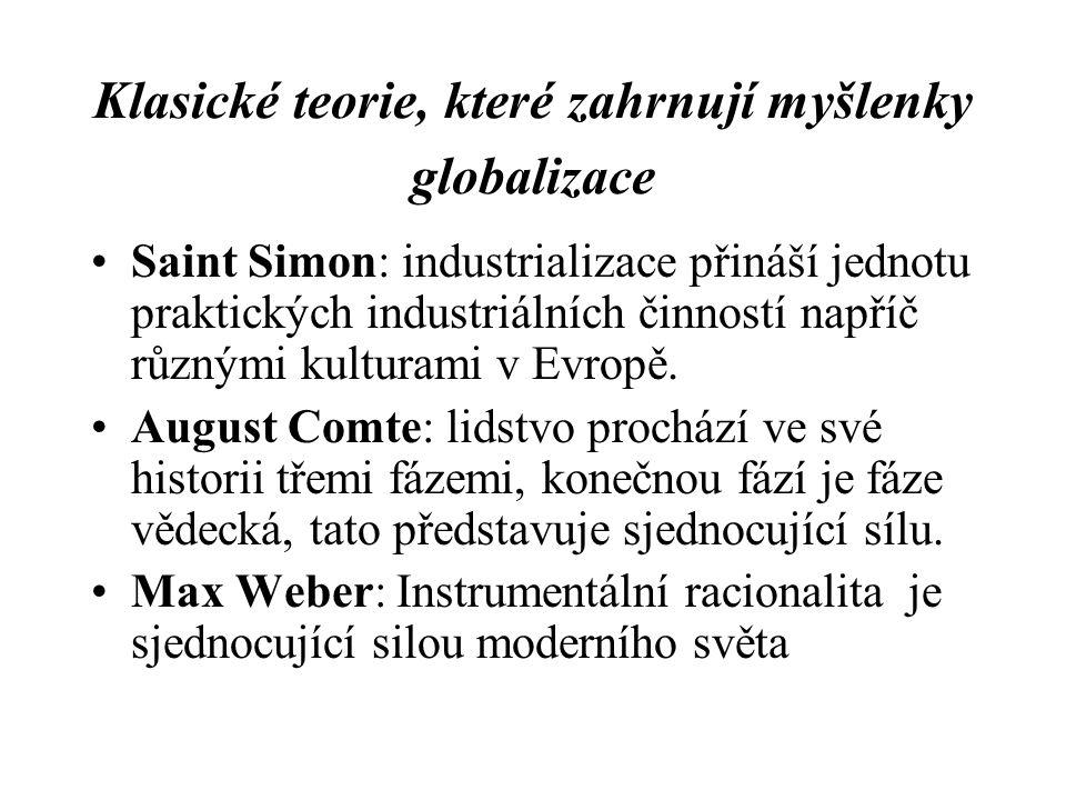 Klasické teorie, které zahrnují myšlenky globalizace