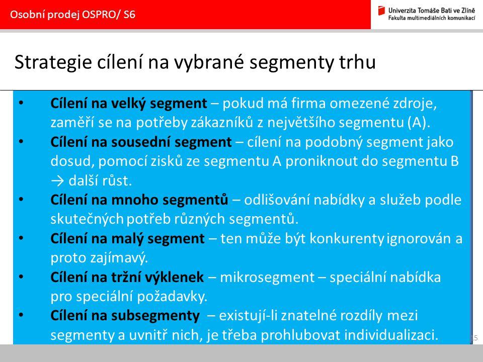 Strategie cílení na vybrané segmenty trhu