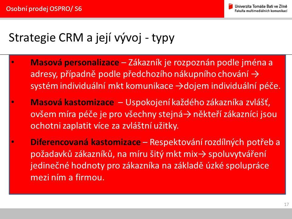 Strategie CRM a její vývoj - typy