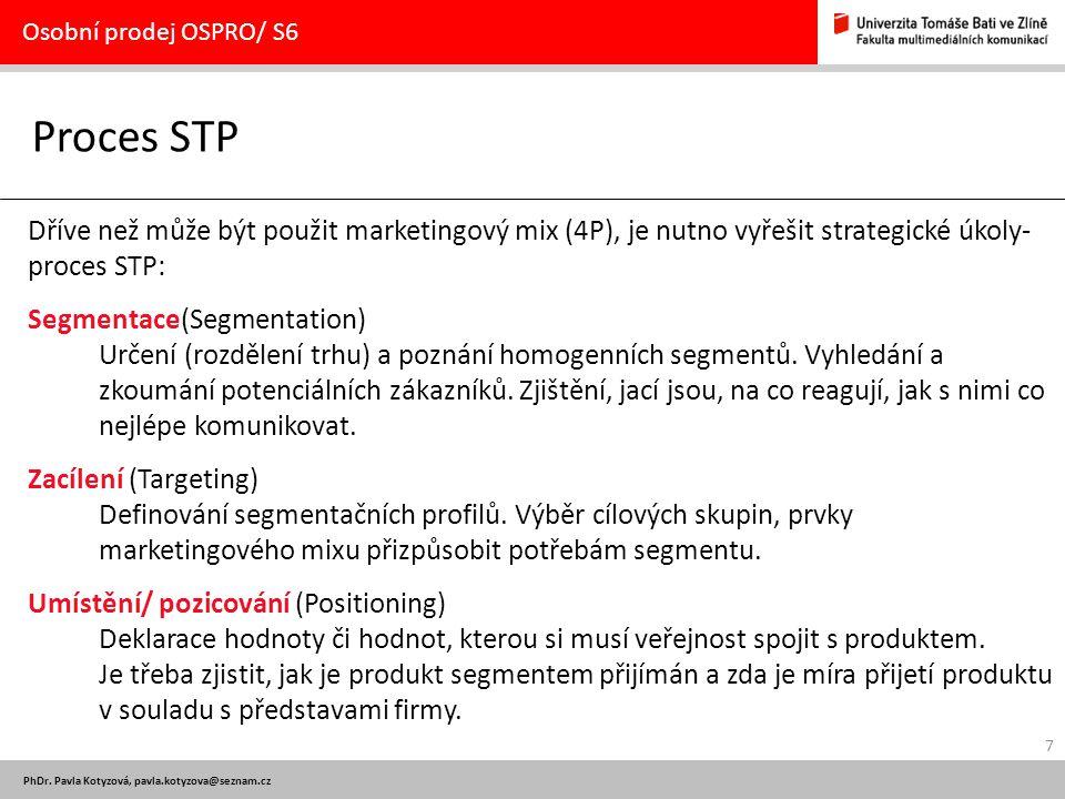 Osobní prodej OSPRO/ S6 Proces STP. Dříve než může být použit marketingový mix (4P), je nutno vyřešit strategické úkoly-