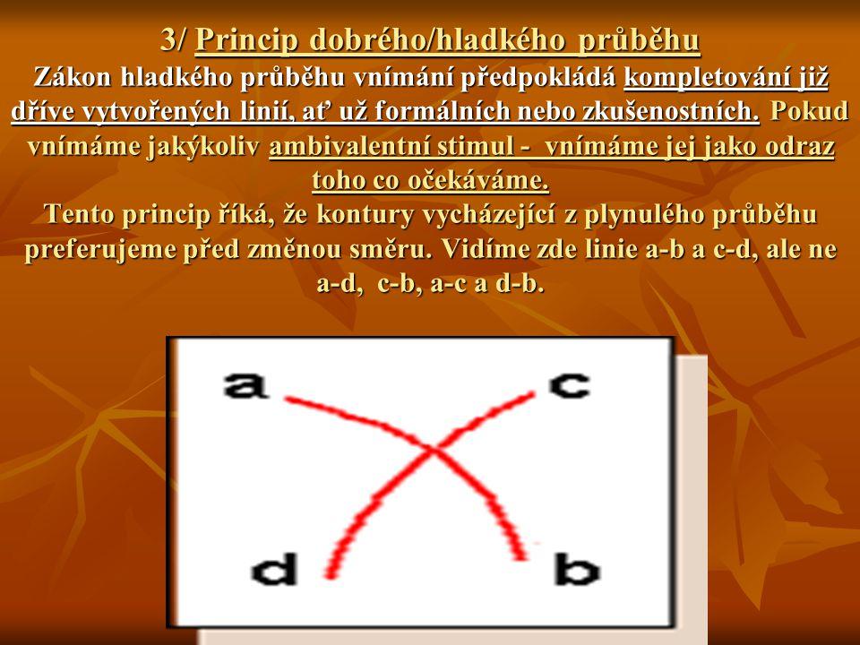 3/ Princip dobrého/hladkého průběhu Zákon hladkého průběhu vnímání předpokládá kompletování již dříve vytvořených linií, ať už formálních nebo zkušenostních.