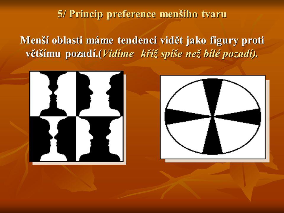 5/ Princip preference menšího tvaru Menší oblasti máme tendenci vidět jako figury proti většímu pozadí.(Vidíme kříž spíše než bílé pozadí).