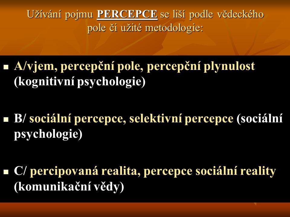 A/vjem, percepční pole, percepční plynulost (kognitivní psychologie)