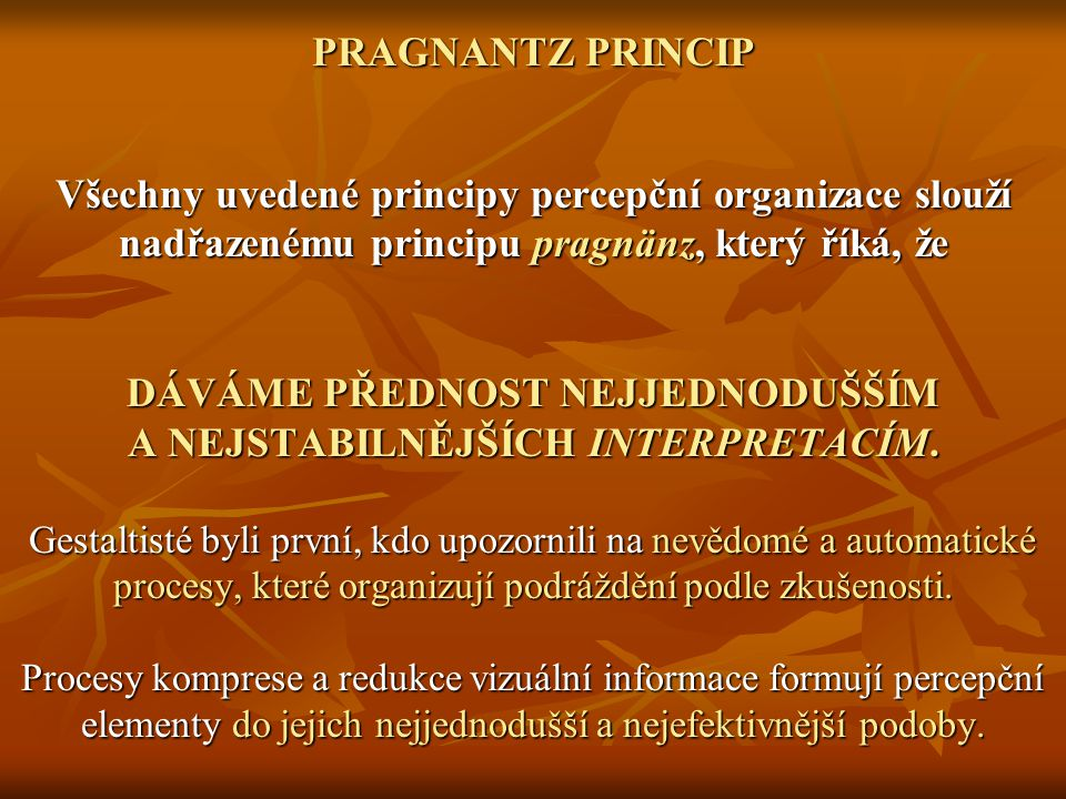 PRAGNANTZ PRINCIP Všechny uvedené principy percepční organizace slouží nadřazenému principu pragnänz, který říká, že DÁVÁME PŘEDNOST NEJJEDNODUŠŠÍM A NEJSTABILNĚJŠÍCH INTERPRETACÍM.