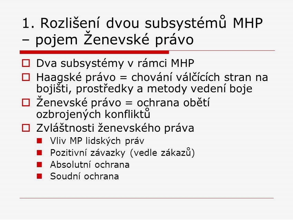 1. Rozlišení dvou subsystémů MHP – pojem Ženevské právo