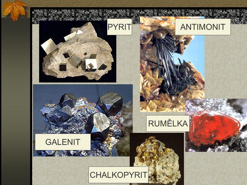 PYRIT ANTIMONIT RUMĚLKA GALENIT CHALKOPYRIT