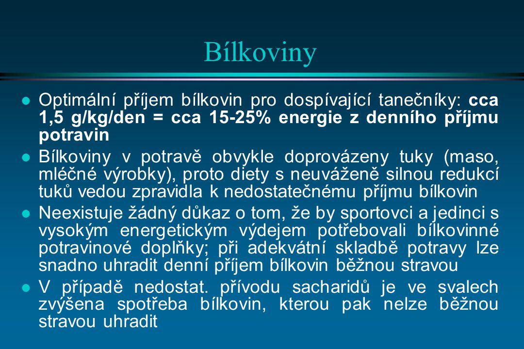 Bílkoviny Optimální příjem bílkovin pro dospívající tanečníky: cca 1,5 g/kg/den = cca 15-25% energie z denního příjmu potravin.