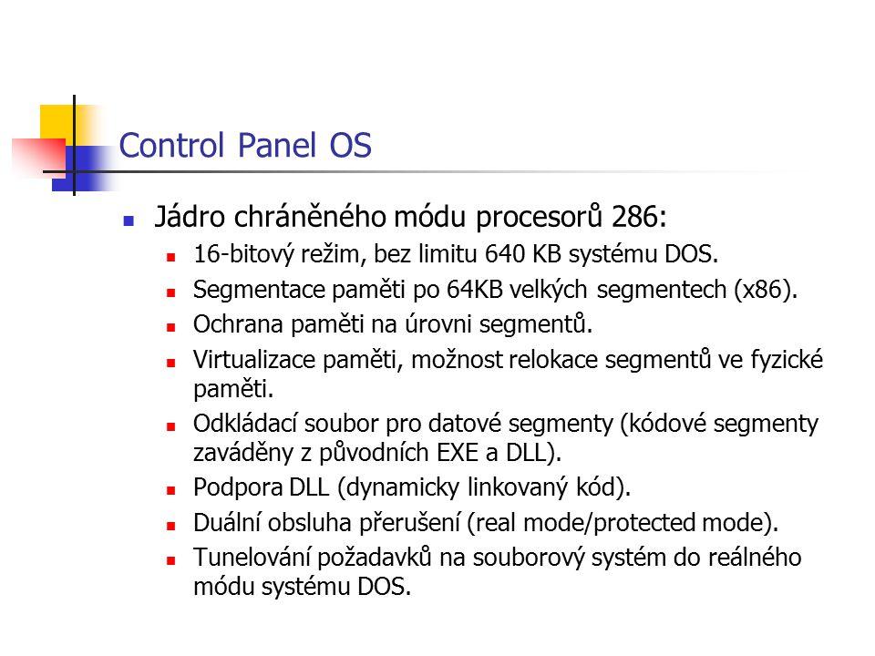 Control Panel OS Jádro chráněného módu procesorů 286: