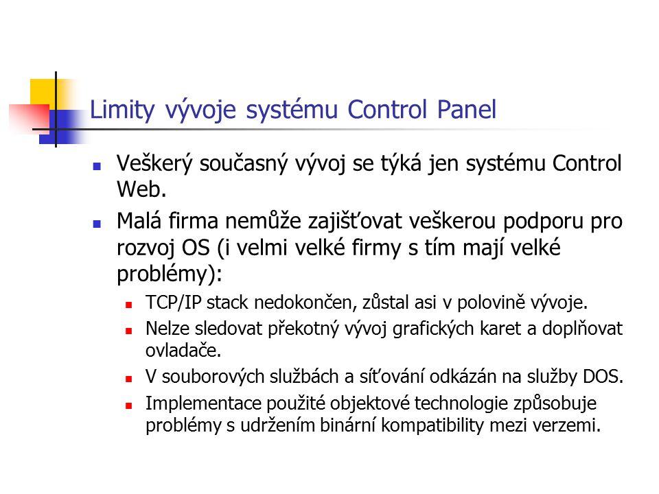 Limity vývoje systému Control Panel