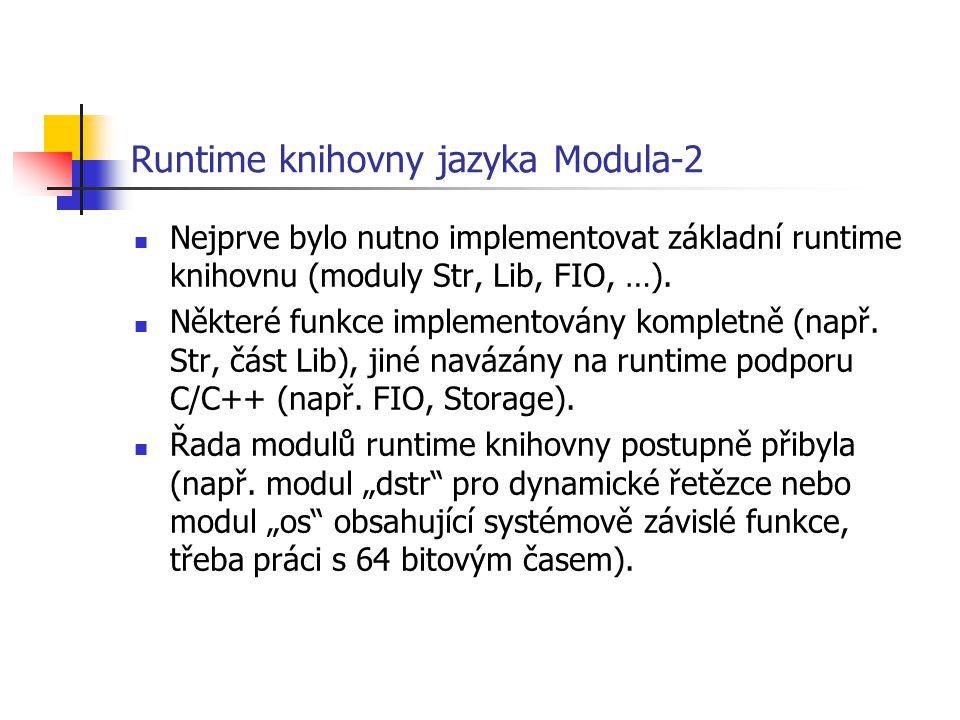 Runtime knihovny jazyka Modula-2