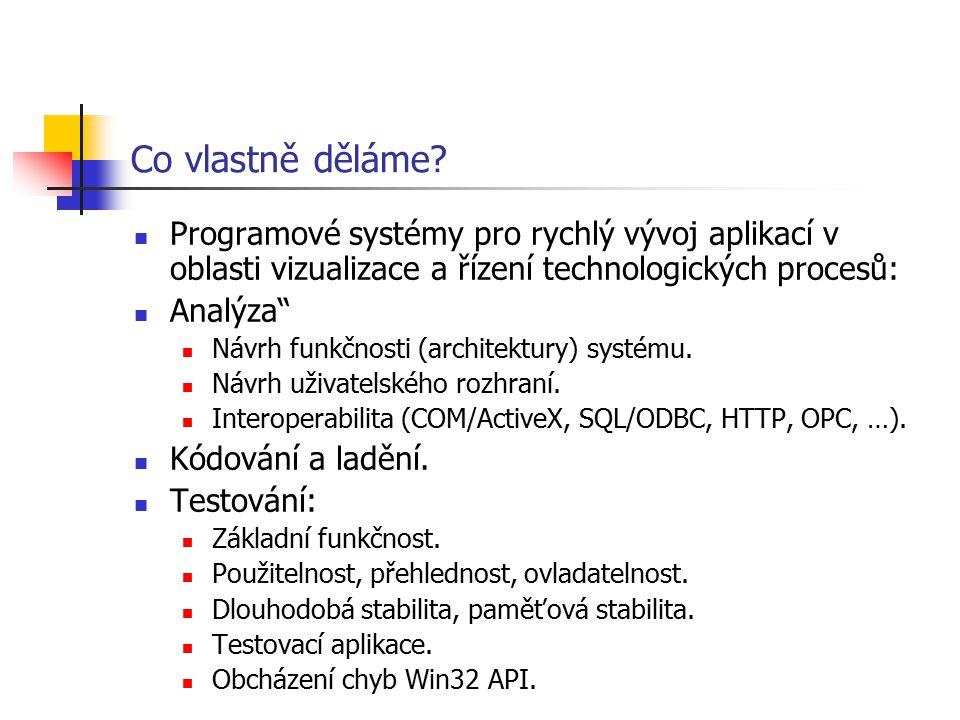 Co vlastně děláme Programové systémy pro rychlý vývoj aplikací v oblasti vizualizace a řízení technologických procesů: