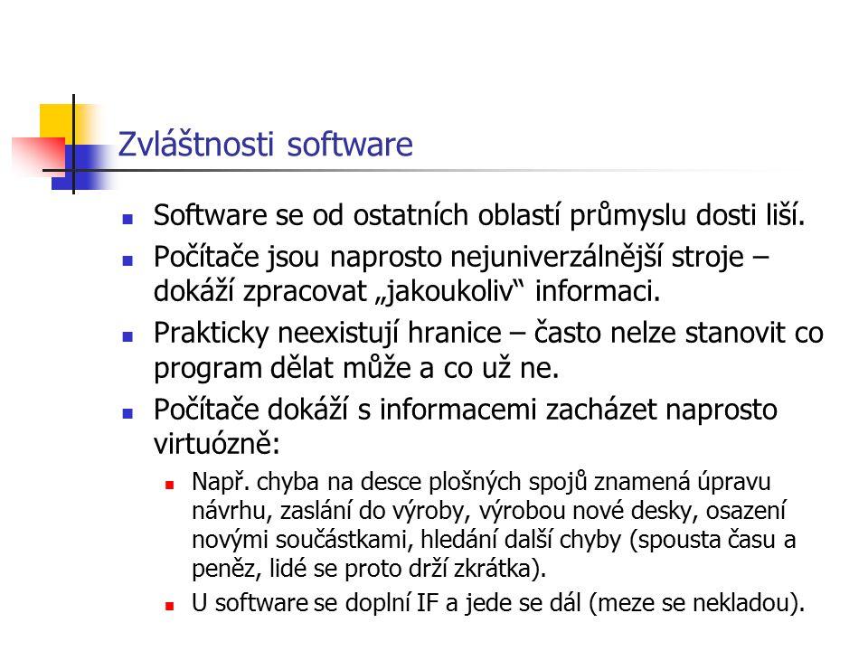 Zvláštnosti software Software se od ostatních oblastí průmyslu dosti liší.