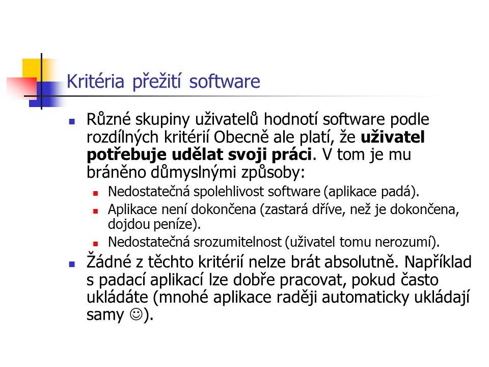 Kritéria přežití software