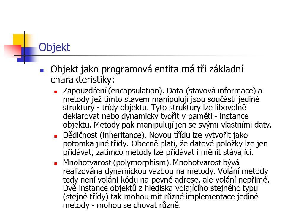 Objekt Objekt jako programová entita má tři základní charakteristiky: