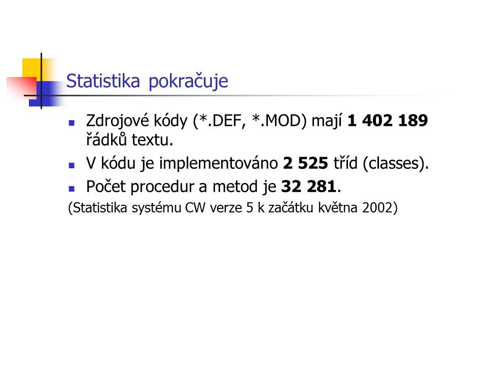 Statistika pokračuje Zdrojové kódy (*.DEF, *.MOD) mají 1 402 189 řádků textu. V kódu je implementováno 2 525 tříd (classes).