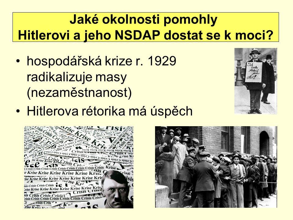 Jaké okolnosti pomohly Hitlerovi a jeho NSDAP dostat se k moci