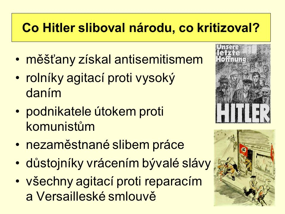 Co Hitler sliboval národu, co kritizoval