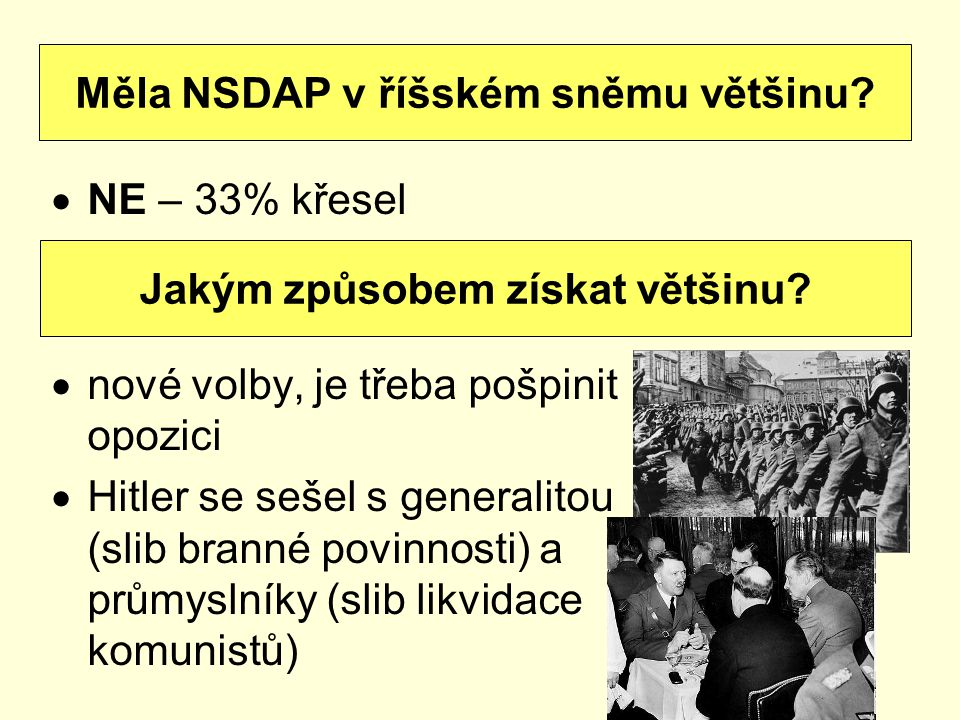 Měla NSDAP v říšském sněmu většinu Jakým způsobem získat většinu