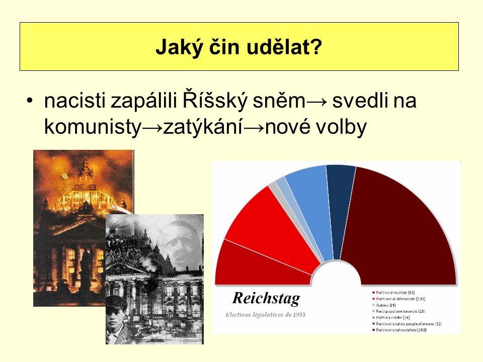 Jaký čin udělat nacisti zapálili Říšský sněm→ svedli na komunisty→zatýkání→nové volby