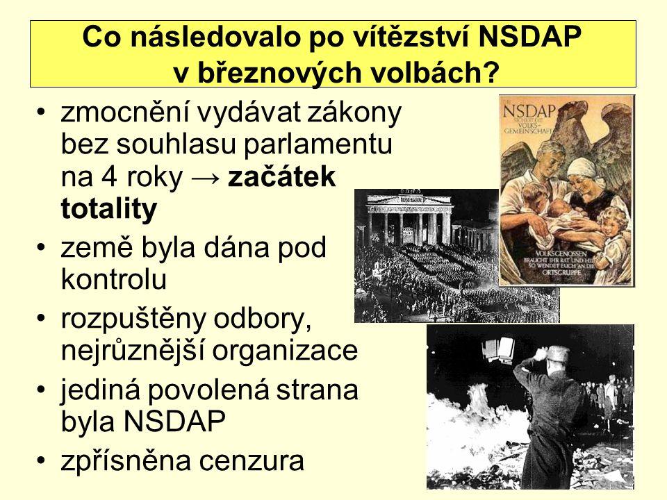 Co následovalo po vítězství NSDAP