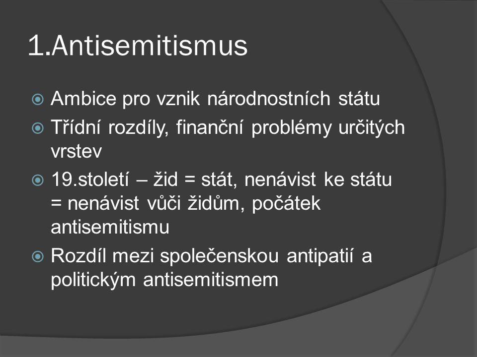 1.Antisemitismus Ambice pro vznik národnostních státu