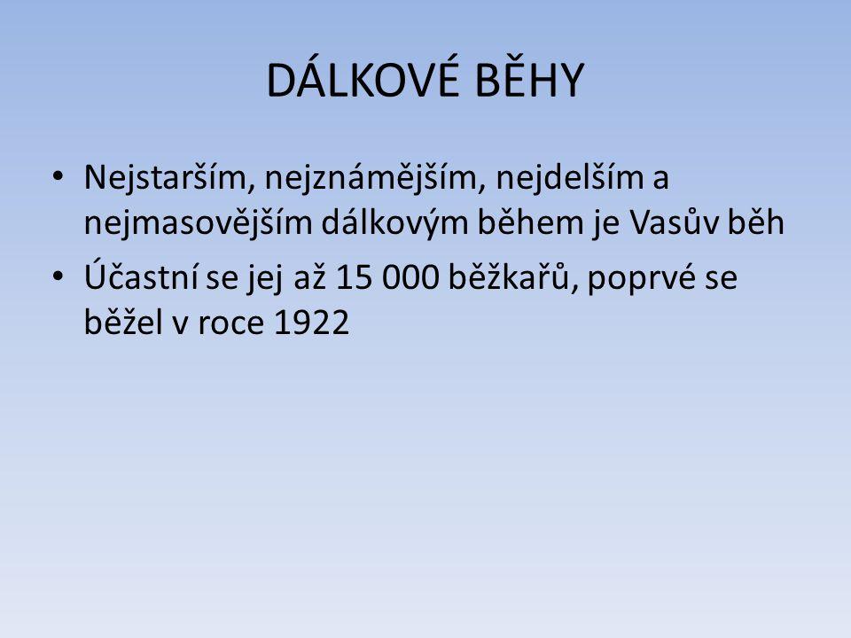 DÁLKOVÉ BĚHY Nejstarším, nejznámějším, nejdelším a nejmasovějším dálkovým během je Vasův běh.