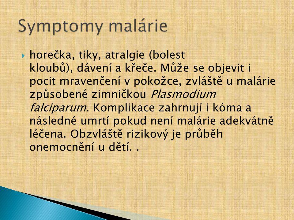 Symptomy malárie