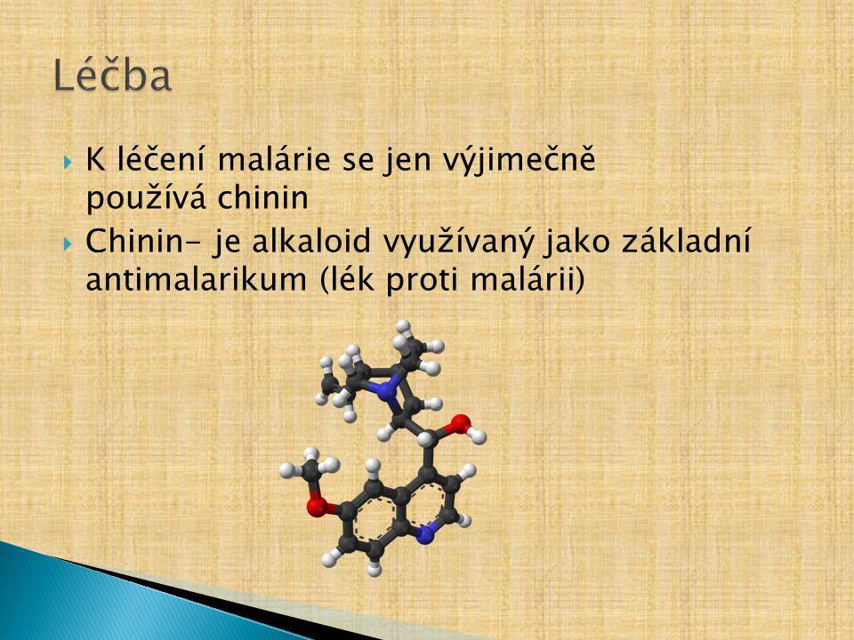 Léčba K léčení malárie se jen výjimečně používá chinin