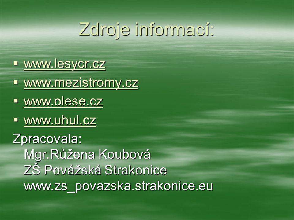 Zdroje informací: www.lesycr.cz www.mezistromy.cz www.olese.cz
