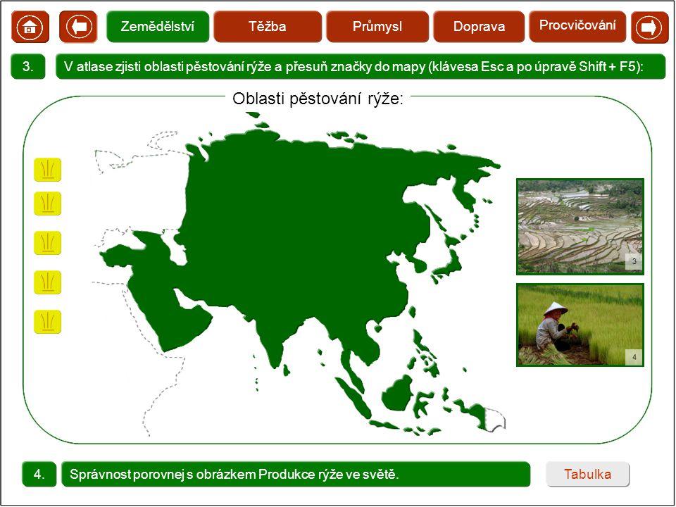 Oblasti pěstování rýže: