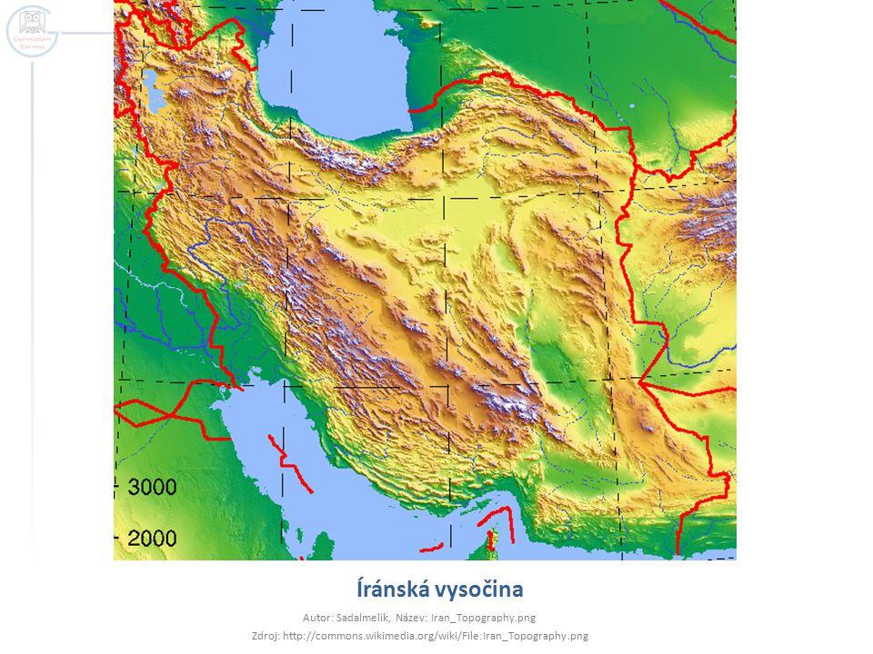 Íránská vysočina Autor: Sadalmelik, Název: Iran_Topography.png