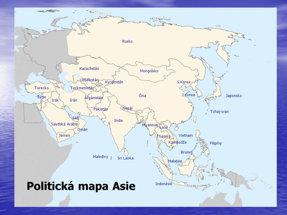 Politická mapa Asie Rusko Kazachstán Mongolsko Uzbekistán Kyrgizstán