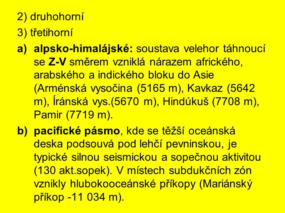 2) druhohorní 3) třetihorní.