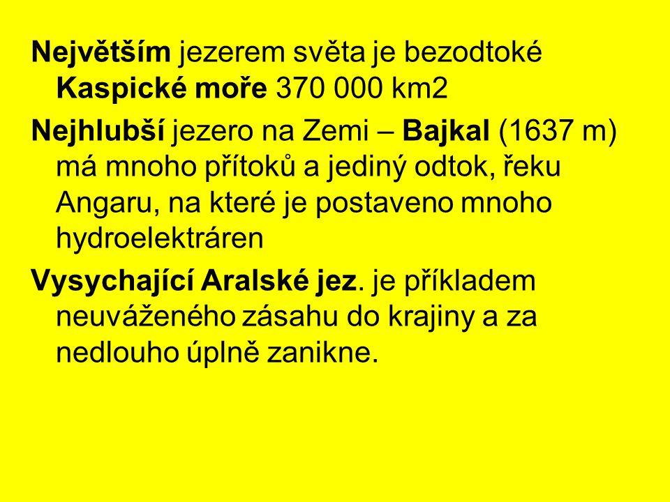 Největším jezerem světa je bezodtoké Kaspické moře 370 000 km2