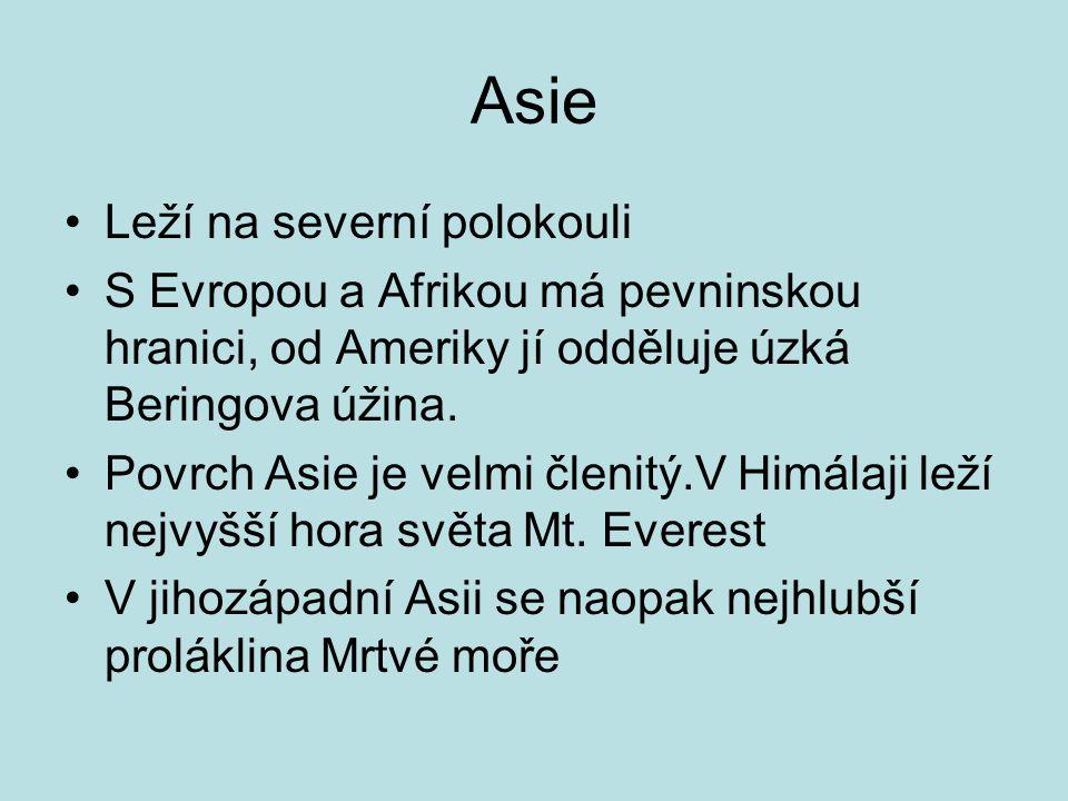 Asie Leží na severní polokouli