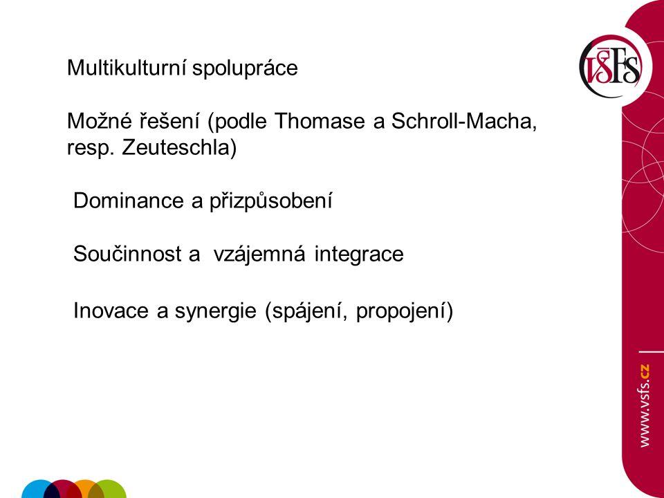 Multikulturní spolupráce Možné řešení (podle Thomase a Schroll-Macha, resp. Zeuteschla) Dominance a přizpůsobení