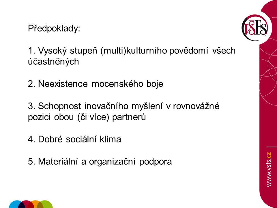 Předpoklady: 1. Vysoký stupeň (multi)kulturního povědomí všech účastněných