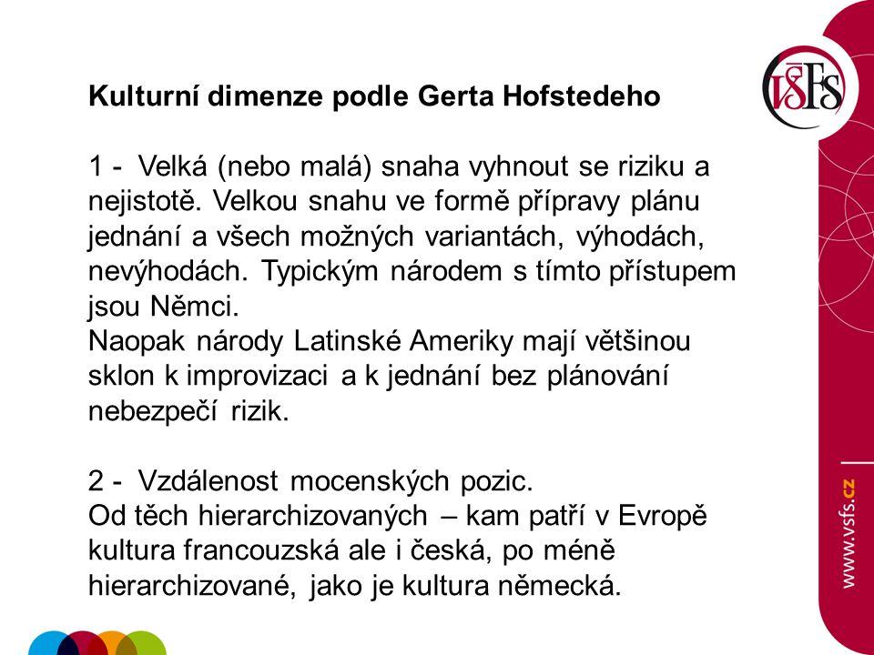 Kulturní dimenze podle Gerta Hofstedeho