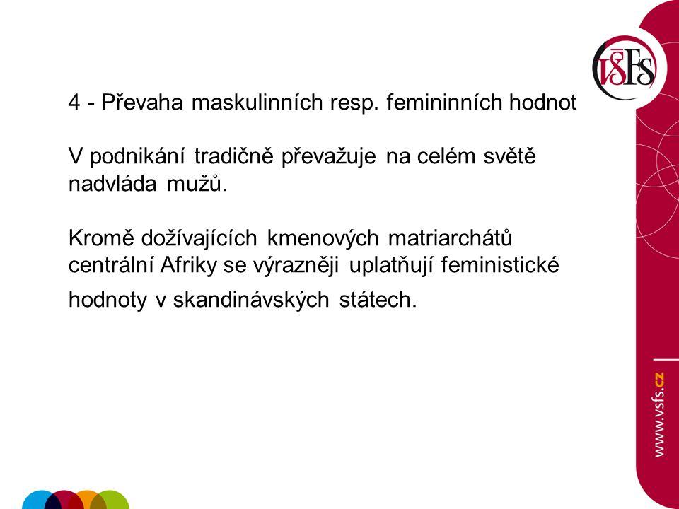 4 - Převaha maskulinních resp. femininních hodnot