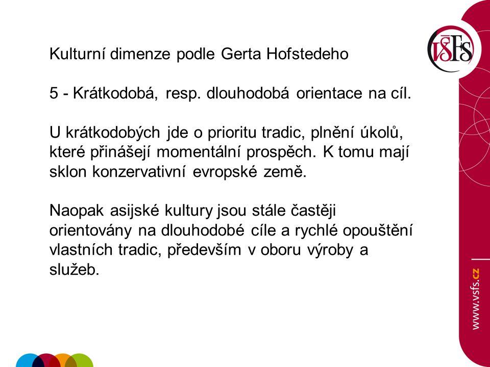 Kulturní dimenze podle Gerta Hofstedeho 5 - Krátkodobá, resp