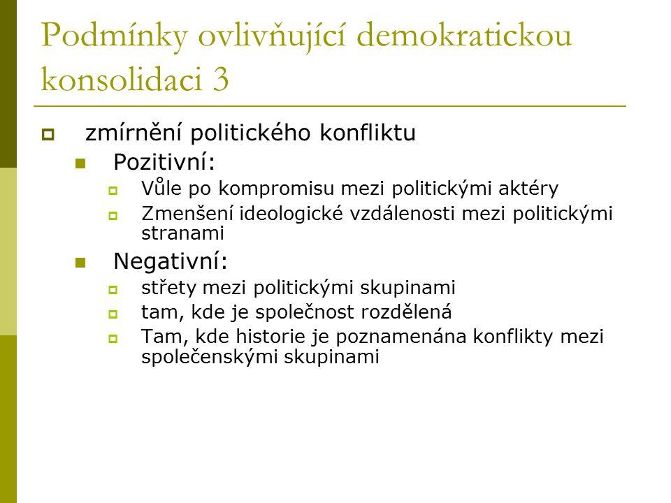 Podmínky ovlivňující demokratickou konsolidaci 3