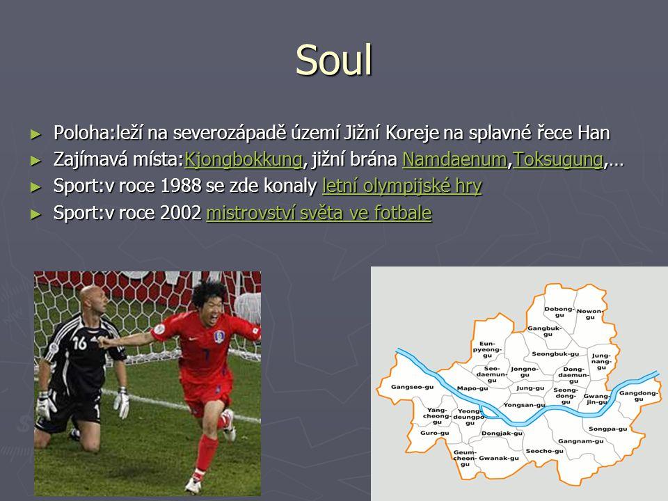Soul Poloha:leží na severozápadě území Jižní Koreje na splavné řece Han. Zajímavá místa:Kjongbokkung, jižní brána Namdaenum,Toksugung,…