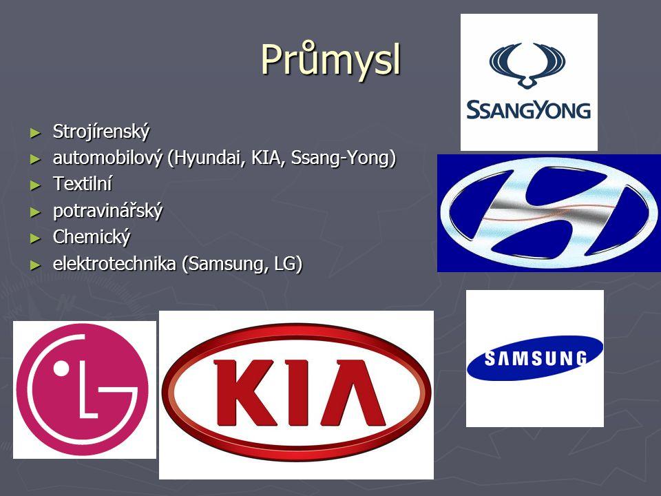Průmysl Strojírenský automobilový (Hyundai, KIA, Ssang-Yong) Textilní