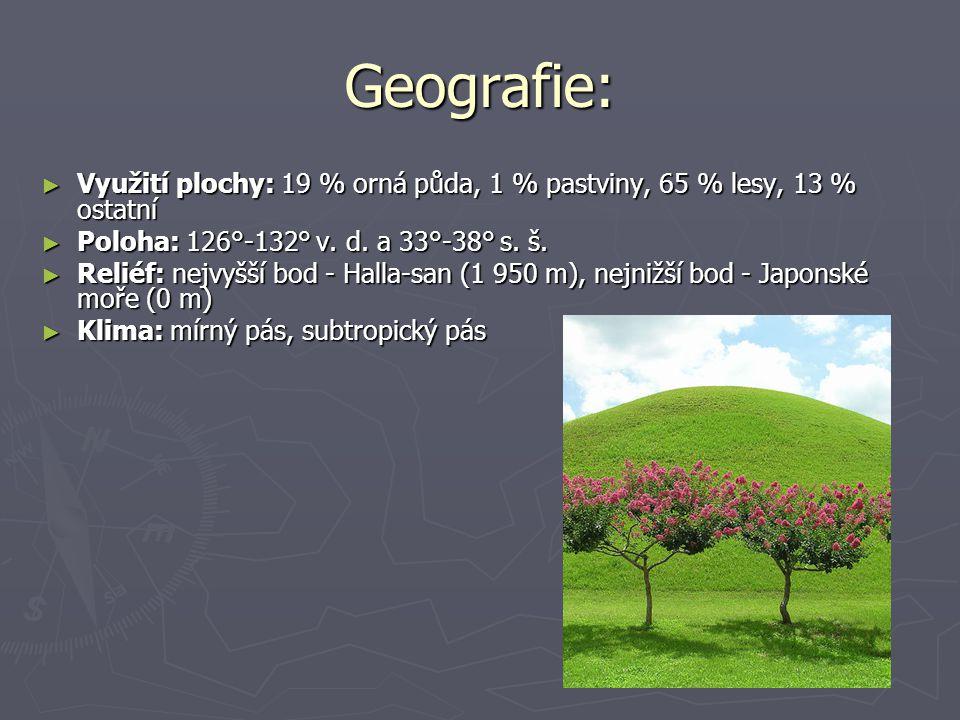 Geografie: Využití plochy: 19 % orná půda, 1 % pastviny, 65 % lesy, 13 % ostatní. Poloha: 126°-132° v. d. a 33°-38° s. š.