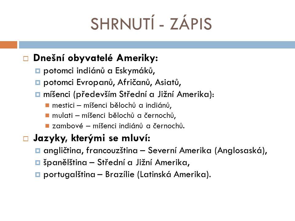 SHRNUTÍ - ZÁPIS Dnešní obyvatelé Ameriky: Jazyky, kterými se mluví: